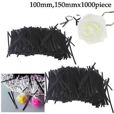1000pcs Black Twist Ties Wires Set for Cello Cellophane Cone Bags 100mm/150mm