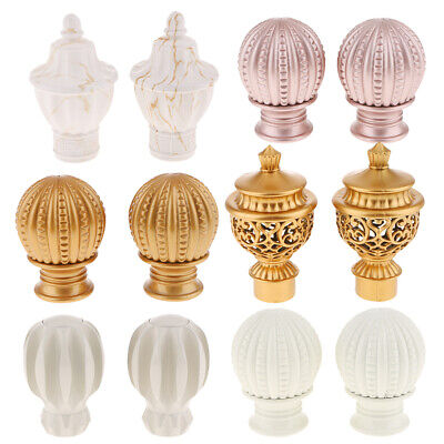 Retro Metal Curtain Pole Pack of 2 Finials / Ends for 28 mm Diameter Poles