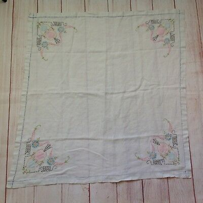 Vintage Small Square Tablecloth Table Linen Embroidered Quilt Pieces Antique