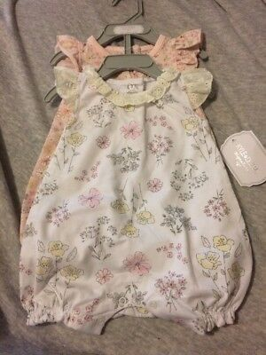 New With Tags Kyle & Deena 0-3 Month 2 Pack Rompers Girl