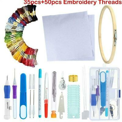 Magic DIY Embroidery Pen Knitting Sewing Tool Punch Needle + 50 Threads Kit Set