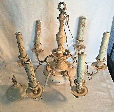 "Vintage Antique Art Deco 6 light arm Chandelier Ceiling fixture 22"" x 20"" 1930s"