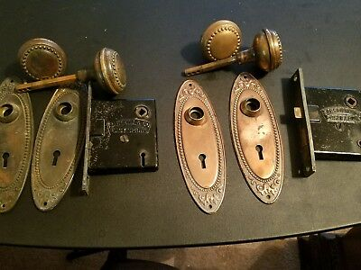 2 SETS Antique Vintage Ornate Door Plates with Lock and Knobs / SARGENT AND CO.