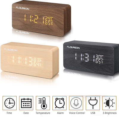 Modern Wooden Wood Digital LED Desk Alarm Clock Thermometer Timer Calendar US
