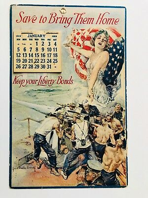 Vintage 1919 WWI Wall Calendar Liberty Bonds w/ Troops and Lady Liberty