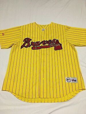 buy online 0fef1 f49eb buy atlanta braves pinstripe red baseball jersey xxl vintage ...