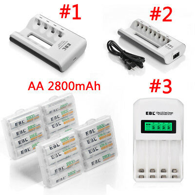 Lot EBL 2800mAh AA Rechargeable Batteries  + Charger For AA AAA Ni-MH/Cd Battery