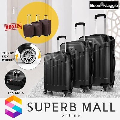 3x Lightweight Luggage Suitcase Set Trolley TSA Hard Case Carry Spinner - Black