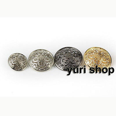 10pcs Hollow Flower Carving Round Metal Shank Button Sewing Coat Suit Clothes