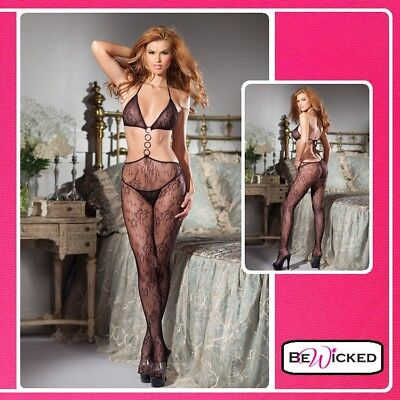 Lingerie Sexy Bodystocking con anelli Open Catsuit With Rings Intimo Donna tuta