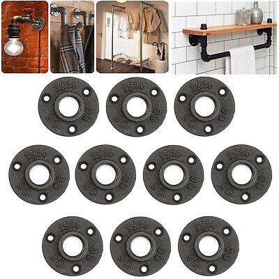 """10pcs Malleable Iron Pipe Fittings 1"""" black Wall Mount Floor Flange Rusty Thread"""
