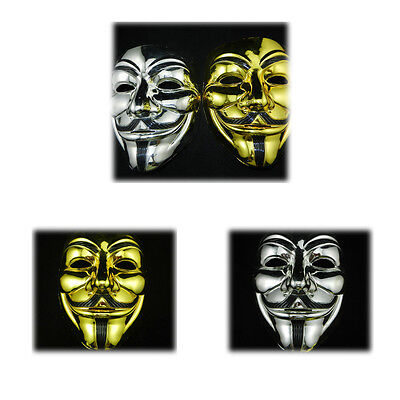 Gold/Silver V for Vendetta Guy Fawkes Masks Anonymous Halloween Cosplay