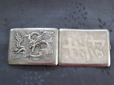 Solid Silver Chinese Export Silver Box Dragon Case Has Cigarettes Dragon China