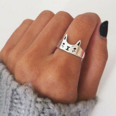 1PC Cat Open Finger Ring Sterling 925 Silver Plated Chic Women Rings Jewelry