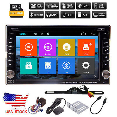 Camera+2DIN HD Car DVD GPS Navigation Touch Screen In Dash Stereo Radio With Map