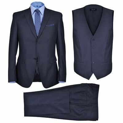 vidaXL 3 Piece Men's Business Suit Size 46 Navy Blue Blazer Waistcoat Trousers