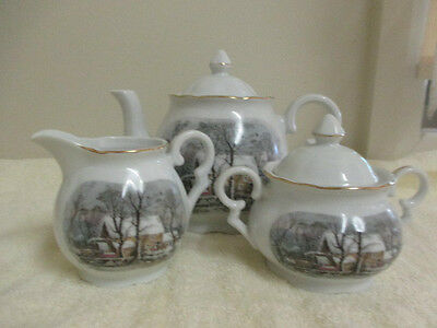 Vtg*avon Crown Bavaria Quality Porcelain Teapot,creamer & Sugar Bowl Set-Japan*