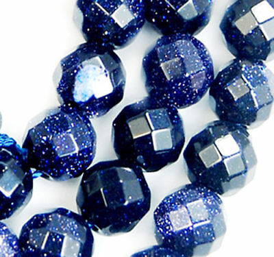 8mm Faceted Blue Sand Stone Gemstone Round Loose Beads 15""