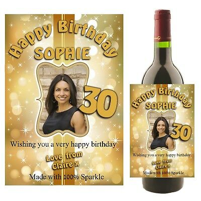 Personalised Birthday Wine Champagne Bottle Photo Label Gift for her N20 Any Age