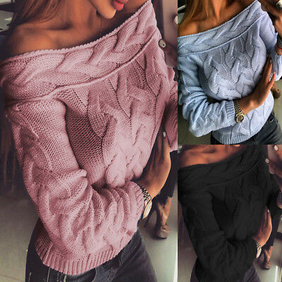 Women Fashion Off Shoulder Knitted Sweater Long Sleeve Pullover Tops Pullovers &
