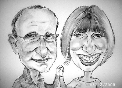 Personalised Caricature of two people from photos B/W Happy Wonderful gifts