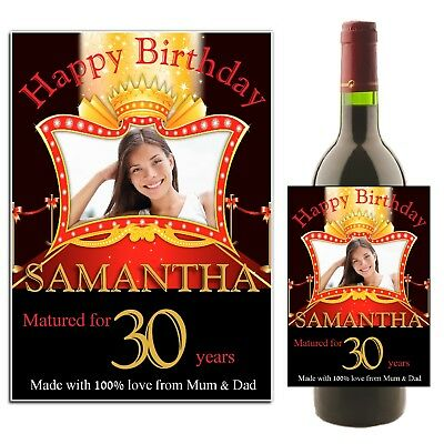 Personalised 18th 21st 30th 40th Birthday Wine Champagne Bottle Label N7 Any Age