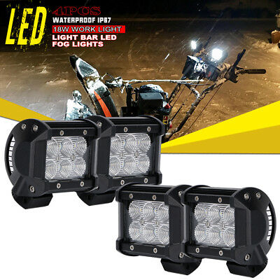 4x 4Inch Flood LED Pods Work Light Offroad Lamp For ATV 4WD Kymco Utility Suzuki