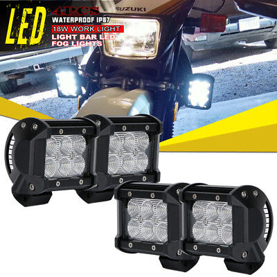 4Pcs 4inch 18W LED Work Light Pods Cube Flood Offroad Light For ATV Honda Suzuki