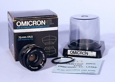 Omicron EL 75mm f/4.5 Enlarging Lens + Mounting Ring *  Boxed & Excellent