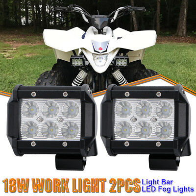 2x 4Inch Flood LED Pods Work Light Offroad Lights ATV 4WD Kymco Utility MXU 700i