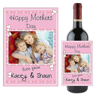 Personalised Mothers Day Wine Champagne Bottle Label Photo Gift for her N25