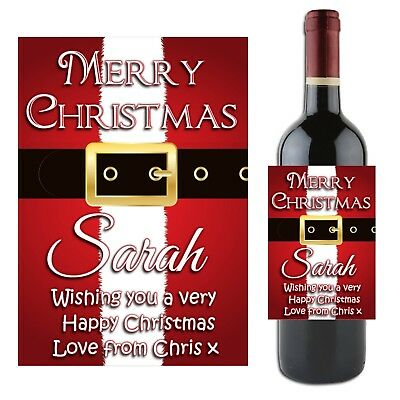 Personalised Merry Christmas Wine Champagne Bottle Label N40 ~ Gift for him her