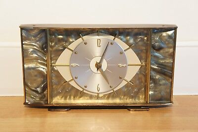 Vintage Metamec Mantle Clock, Brass, Grey, Eye Shape Face, Kienzle Movement.