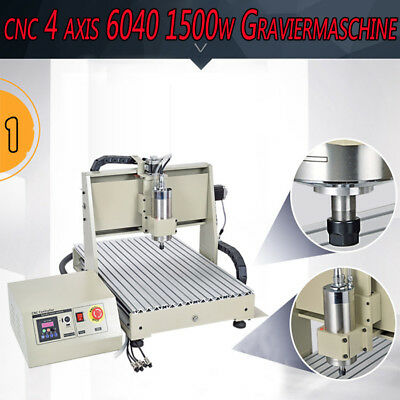 4 Axis 1500W 6040 USB CNC Router Engraving Drilling Machine + CNC 2417 Engraver