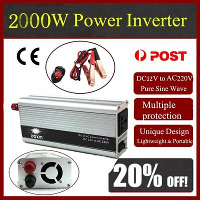 Power Inverter Car USB 2000W WATT Charger 12V DC To 220V AC Adapter ConveWB