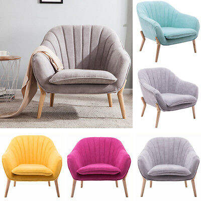 Upholstered Fabric Velvet Tub Armchair Single Leather Sofa Curved/WingBack Chair