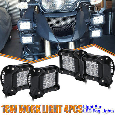 4x 4in 18W LED Work Light Pods Cube Spot Beam Offroad Lamp ATVs Sportsman Suzuki