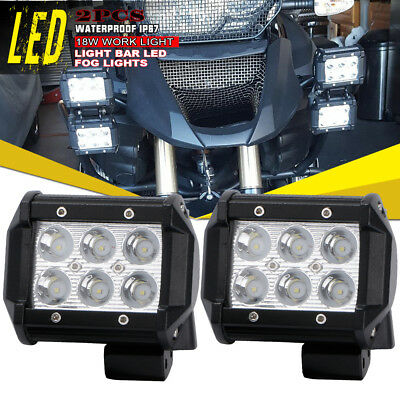 "2x 4"" 18W LED Work Light Pods Cube Spot Beam Offroad Light ATV Suzuki Arctic Cat"