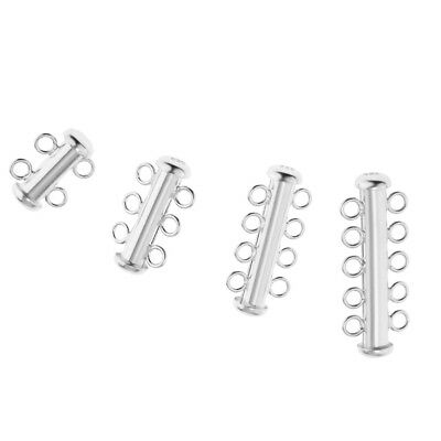 Blesiya 925 Sterling Silver Multi Strand Connector Slide Lock Clasp Jewelry