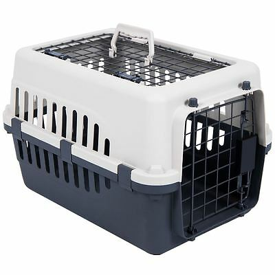 Pet Carrier White & Grey Dog Cat Puppy 2 Door Portable Travel Cage Crate
