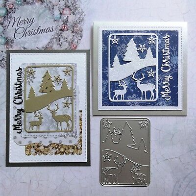"""CLEARANCE"" Shopaperartz CHRISTMAS REINDEER SNOW SCENE CUTTING DIE FIT SIZZIX"