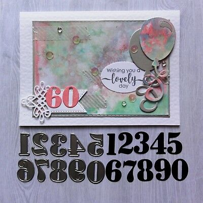 """CLEARANCE"" Shopaperartz NUMBERS NUMERAL DIGIT BIRTHDAY CUTTING DIES FITS SIZZIX"