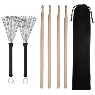 2 Paar 5A Drumsticks Classic Ahornholz Sets und 1 Drum Wire Brushes RetractaH7S6