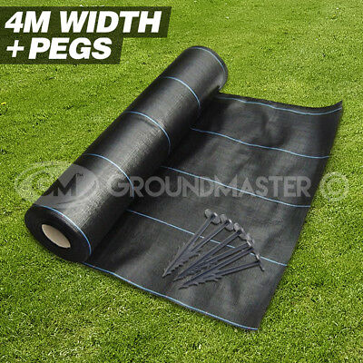 4M X 10M Groundmaster™  Heavy Duty Weed Control Fabric Cover Membrane + 20 Pegs