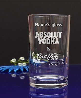 Personalised Engraved ABSOLUT VODKA and Cherry Coca Cola Hiball mixer glass 296