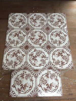 Antique Set Of 11 Cream & Brown Wall- Fireplace Tiles