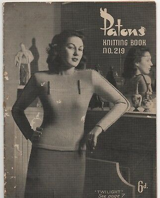 Vintage Knitting Book - Womens Patterns - Patons Book 219 -1940s