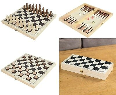 Toyrific Wooden Chess, Draughts and backgammon 3-in-1 Game Set Chrismas Gift