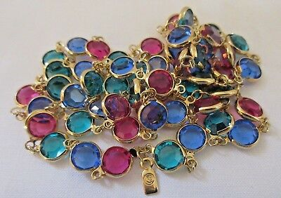 Swarovski Jewelry Crystal Station NECKLACE Signed Gold Tone Pink Blue Green