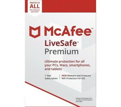 McAfee LiveSafe Unlimited* Device License 2019 Live Safe 1Year Subscription